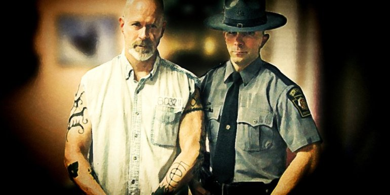 A stylized photo of Smoke and the actual PA state trooper who transported him.